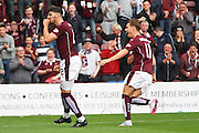 Callum Paterson celebrates a vital goal with team mate Sam Nicholson during the Ladbrokes Scottish Premiership match between Heart of Midlothian and St Johnstone at Tynecastle Stadium, Gorgie, Scotland on 2 August 2015. Photo by Craig McAllister.