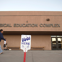 110414     Cayla Nimmo<br /> <br /> Voters head in to the gym at University of New Mexico's Gallup campus on Tuesday.