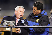 PITTSBURGH - JANUARY 23:  Robert Kraft, owner and Chairman of the New England Patriots, accepts the AFC Lamar Hunt Trophy awarded to the winner of the AFC Championship Game against the Pittsburgh Steelers at Heinz Field on January 23, 2005 in Pittsburgh, Pennsylvania. The Pats defeated the Steelers 41-27. ©Paul Anthony Spinelli  *** Local Caption *** Robert Kraft