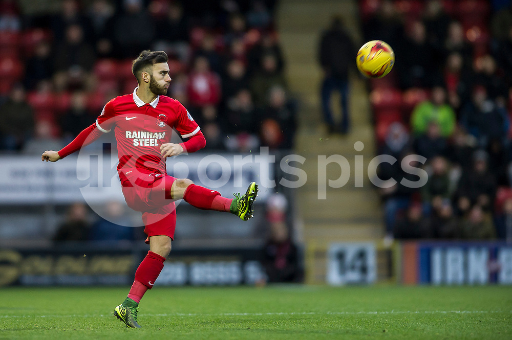 Jack Payne of Leyton Orient during the Sky Bet League 2 match between Leyton Orient and AFC Wimbledon at the Matchroom Stadium, London, England on 28 November 2015. Photo by Salvio Calabrese.