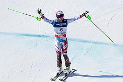 13.02.2017, St. Moritz, SUI, FIS Weltmeisterschaften Ski Alpin, St. Moritz 2017, alpine Kombination, Herren, Slalom, im Bild Luca Aerni (SUI, Herren Alpine Kombination Weltmeister und Goldmedaille) // men's Alpine Combined world Champion and Gold medalist Luca Aerni of Switzerland reacts after his run of Slalom competition for the men's Alpine combination of the FIS Ski World Championships 2017. St. Moritz, Switzerland on 2017/02/13. EXPA Pictures © 2017, PhotoCredit: EXPA/ Johann Groder