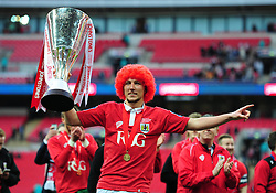 Bristol City's Luke Ayling celebrates with the Johnstone Paint Trophy at full time. - Photo mandatory by-line: Alex James/JMP - Mobile: 07966 386802 - 22/03/2015 - SPORT - Football - London - Wembley Stadium - Bristol City v Walsall - Johnstone Paint Trophy Final