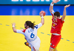 Bertrand Gille of France and Arnor Atlason of Iceland during handball match between France and Iceland in  Main Round of 10th EHF European Handball Championship Serbia 2012, on January 25, 2012 in Spens Hall, Novi Sad, Serbia. (Photo By Vid Ponikvar / Sportida.com)