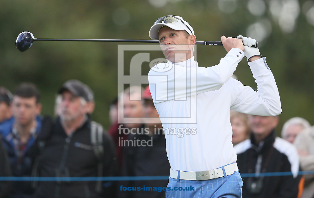 Picture by Paul Gaythorpe/Focus Images Ltd +447771 871632<br /> 06/10/2013<br /> Steen Tinning on the 18th tee in the final round of the English Senior Open at Rockliffe Hall, Darlington.