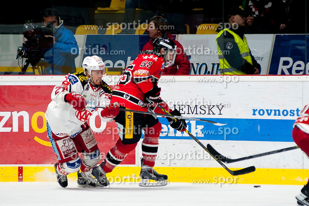 15.03.2015, Ice Rink, Znojmo, CZE, EBEL, HC Orli Znojmo vs EC KAC, 59. Runde, 5. Viertelfinale, im Bild v.l. Manuel Geier (EC KAC), Martin Baca (HC Orli Znojmo) // during the Erste Bank Icehockey League 59th round match, 5th quarterfinal between HC Orli Znojmo and EC KAC at the Ice Rink in Znojmo, Czech Republic on 2015/03/15. EXPA Pictures © 2015, PhotoCredit: EXPA/ Rostislav Pfeffer