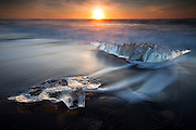 Ice Diamonds on the Glacier Beach, south Iceland