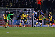 Stephen McLaughlin scores a goal to make it 1-0 and celebrates during the EFL Sky Bet League 1 match between Burton Albion and Southend United at the Pirelli Stadium, Burton upon Trent, England on 3 December 2019.