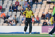 Peter Trego of Somerset raises his bat on reaching his half century during the NatWest T20 Blast South Group match between Hampshire County Cricket Club and Somerset County Cricket Club at the Ageas Bowl, Southampton, United Kingdom on 18 August 2017. Photo by Dave Vokes.