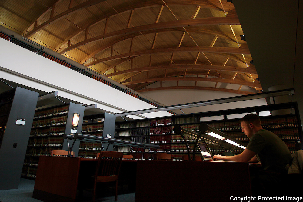 A Drake student studies in the Law Library over spring break.  photo by david peterson