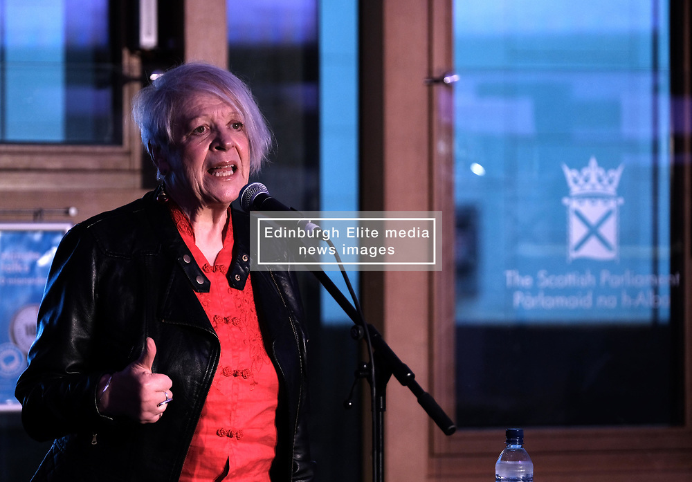 "Pictured:  Poet and writer Liz Lochhead performs her hit show ""SOMETHINGS OLD, SOMETHINGS NEW"" at the Festival of Politics 2017 with musical backing from saxophonist Steve Kettley<br /> <br /> Alex Todd 