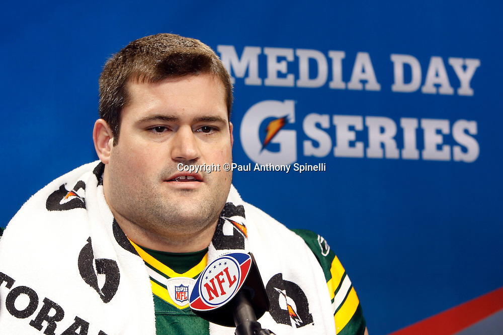 Green Bay Packers offensive tackle Chad Clifton (76) speaks to the press at Super Bowl XLV media day prior to NFL Super Bowl XLV against the Pittsburgh Steelers. Media day was held on Tuesday, February 1, 2011 in Arlington, Texas. ©Paul Anthony Spinelli
