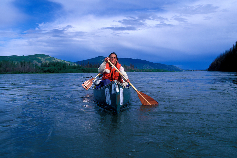 Canada, Yukon Territory, Marjorie Logue and Sandy Sippola paddle Yukon River near Fort Selkirk