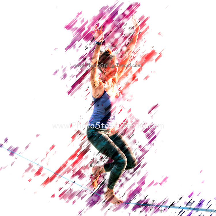 Digitally enhanced image of a woman Slacklining
