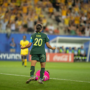GRENOBLE, FRANCE June 18. Sam Kerr #20 of Australia celebrates her fourth goal after pouncing on an error from goalkeeper Nicole McClure #13 of Jamaica as the Australian supporters go wild during the Jamaica V Australia, Group C match at the FIFA Women's World Cup at Stade des Alpes on June 18th 2019 in Grenoble, France. (Photo by Tim Clayton/Corbis via Getty Images)