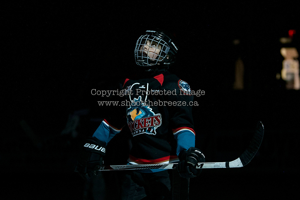 KELOWNA, BC - SEPTEMBER 28:  The minor hockey player of the game watches the jumbotron during the opening of Kelowna Rockets against the Everett Silvertips  at Prospera Place on September 28, 2019 in Kelowna, Canada. (Photo by Marissa Baecker/Shoot the Breeze)