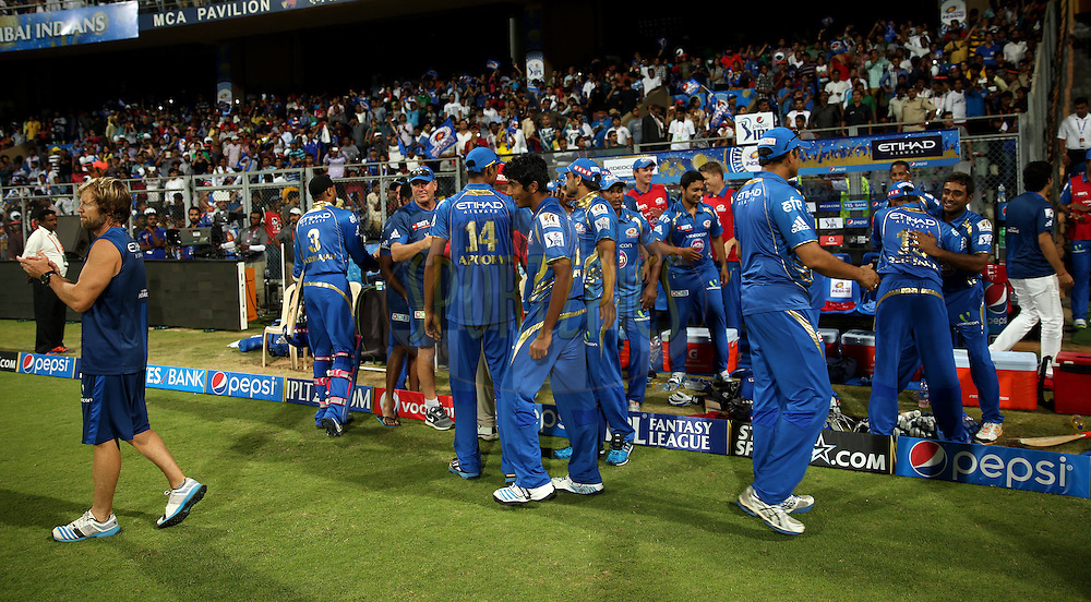 Mumbai Indians Playes Celebrates after winning the  match 22 of the Pepsi Indian Premier League Season 2014 between the Mumbai Indians and the Kings XI Punjab held at the Wankhede Cricket Stadium, Mumbai, India on the 3rd May  2014<br /> <br /> Photo by Sandeep Shetty / IPL / SPORTZPICS<br /> <br /> <br /> <br /> Image use subject to terms and conditions which can be found here:  http://sportzpics.photoshelter.com/gallery/Pepsi-IPL-Image-terms-and-conditions/G00004VW1IVJ.gB0/C0000TScjhBM6ikg