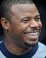 Ken Griffey Jr. has a laugh before a game against the Tribe.