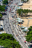 High angle view of Copacabana Beach, Rio de Janeiro, Brazil. On Sundays, northbound lanes of Avenida Atlantica are closed so pedestrians have more room to stroll.