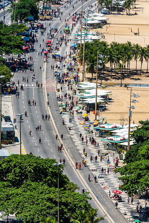 High angle view of Copacabana Beach, Rio de Janeiro, Brazil. On Sundays, northbound lanes of Avenida Atlantica are closed so pedestrians have more room to stroll.