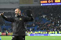 Football - 2017 / 2018 Sky Bet Championship - Cardiff City vs. Wolverhampton Wanderers<br /> <br /> Wolves manager Nuno Espírito Santo celebrates victory, at Cardiff City Stadium, scoreboard reading Cardiff 0 Wolves 1 in background<br /> <br /> COLORSPORT/WINSTON BYNORTH