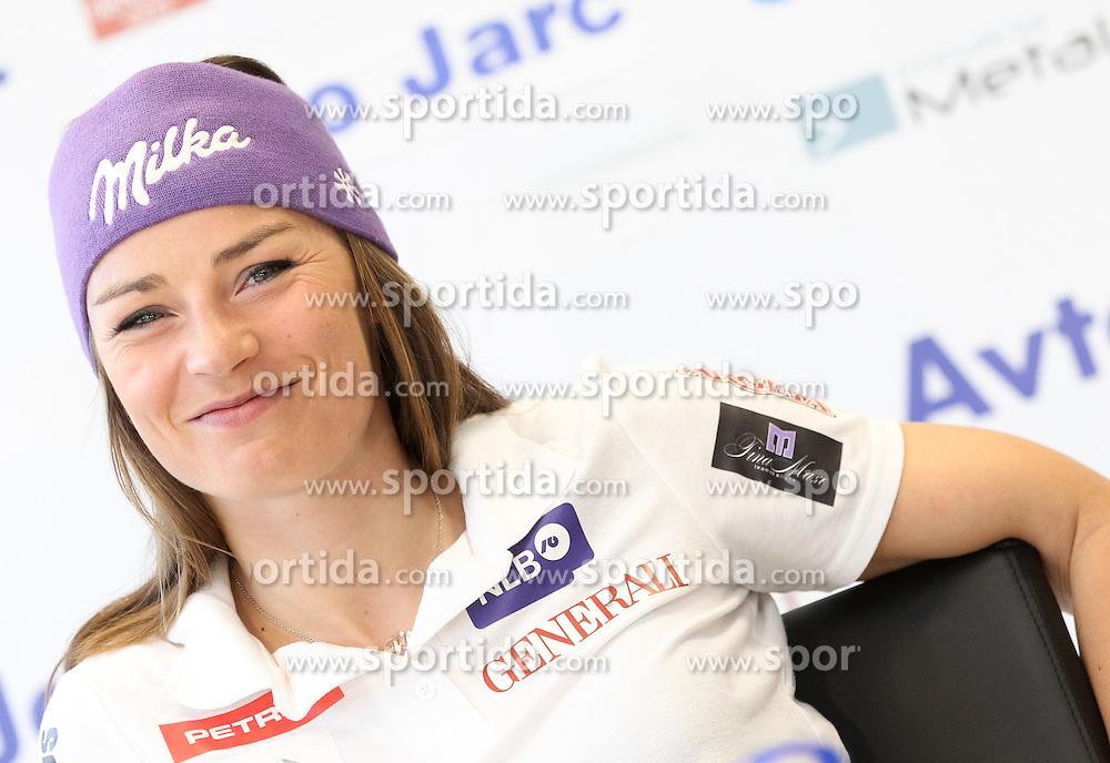 Tina Maze at press conference of aMaze Alpine Ski Team, on April 4, 2012, in Ljubljana, Slovenia. (Photo by Vid Ponikvar / Sportida.com)