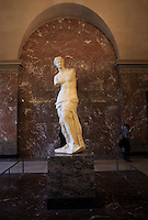 The Venus de Milo is an ancient Greek sculpture on display at The Louvre in Paris, France.