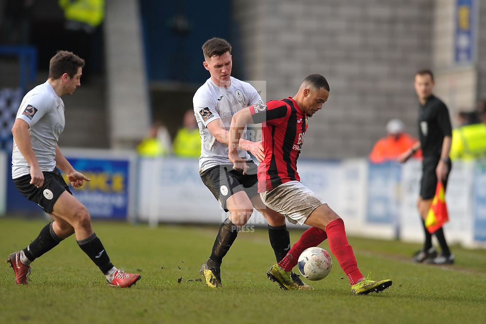 TELFORD COPYRIGHT MIKE SHERIDAN Ross White of Telford battles for the ball during the Vanarama Conference North fixture between AFC Telford United and Kettering at The New Bucks Head on Saturday, March 14, 2020.<br /> <br /> Picture credit: Mike Sheridan/Ultrapress<br /> <br /> MS201920-050