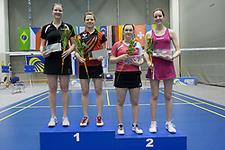Medal ceremony of women doubles at Slovenia Open Badminton tournament 2012, on May 13, 2012, in Medvode, Slovenia. (Photo by Grega Valancic / Sportida.com)