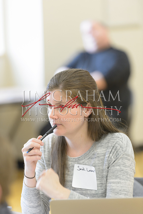 Sarah Larimer a writer for the Washington Post takes part in Mascot Bootcamp in Kutztown, PA, 8 April 2016. Photograph by Jim Graham