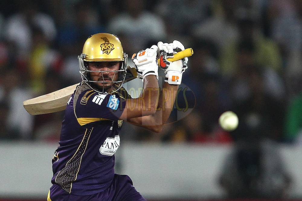 Thisara Perera of the Kings XI Punjab looks for a run during the first semi final match of the Oppo Champions League Twenty20 between the Kolkata Knight Riders and the Hobart Hurricanes held at the Rajiv Gandhi Cricket Stadium, Hyderabad, India on the 2nd October 2014<br /> <br /> Photo by:  Shaun Roy / Sportzpics/ CLT20<br /> <br /> <br /> Image use is subject to the terms and conditions as laid out by the BCCI/ CLT20.  The terms and conditions can be downloaded here:<br /> <br /> http://sportzpics.photoshelter.com/gallery/CLT20-Image-Terms-and-Conditions-2014/G0000IfNJn535VPU/C0000QhhKadWcjYs