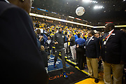 Golden State Warriors forward Kevin Durant (35) enters the arena during pregame festivities before hosting the San Antonio Spurs during Game 2 of the Western Conference Quarterfinals at Oracle Arena in Oakland, Calif., on April 16, 2018. (Stan Olszewski/Special to S.F. Examiner)