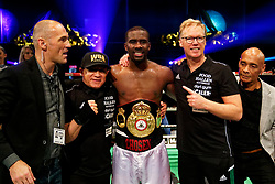 17-11-2019 NED: World Port Boxing Danyo - Mansouri, Rotterdam<br /> 3rd World Port Boxing in Excelsior Stadion Rotterdam / Stephen Danyo win the WBA Continental titel against Englishman Navid Mansouri after 12 rounds. Trainer Ton Dunk, Manager Leon Aertgeerst (l)