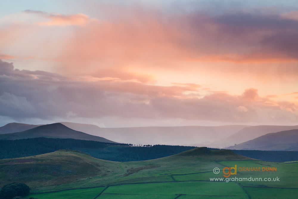 Crook Hill, Lose Hill and dramatic rainfall in the Vale of Edale. Peak District.