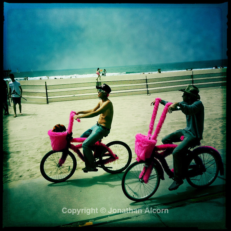The pink cycles spotted again this time  on Ocean Front Walk in Venice