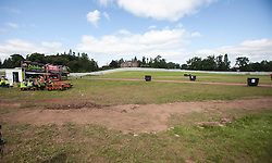 The site on front of the castle before opening. The opening of the T in the Park 2015 campsite for the very first year at its new home at Strathallan Castle.