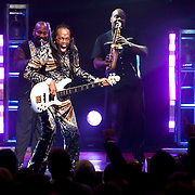 September 25, 2013 - New York, NY: Verdine White (holding guitar) of the band Earth, Wind & Fire performs at the Beacon Theatre in Manhattan on Wednesday night.<br /> CREDIT: Karsten Moran for The New York Times