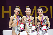 Twins Dina (left) and Arina (right) Averring, Russia,  win silver (D) and gold (A) on clubs during the 33rd European Rhythmic Gymnastics Championships at Papp Laszlo Budapest Sports Arena, Budapest, Hungary on 21 May 2017. Linty Ashram, Israel, wins bronze. Photo by Myriam Cawston.