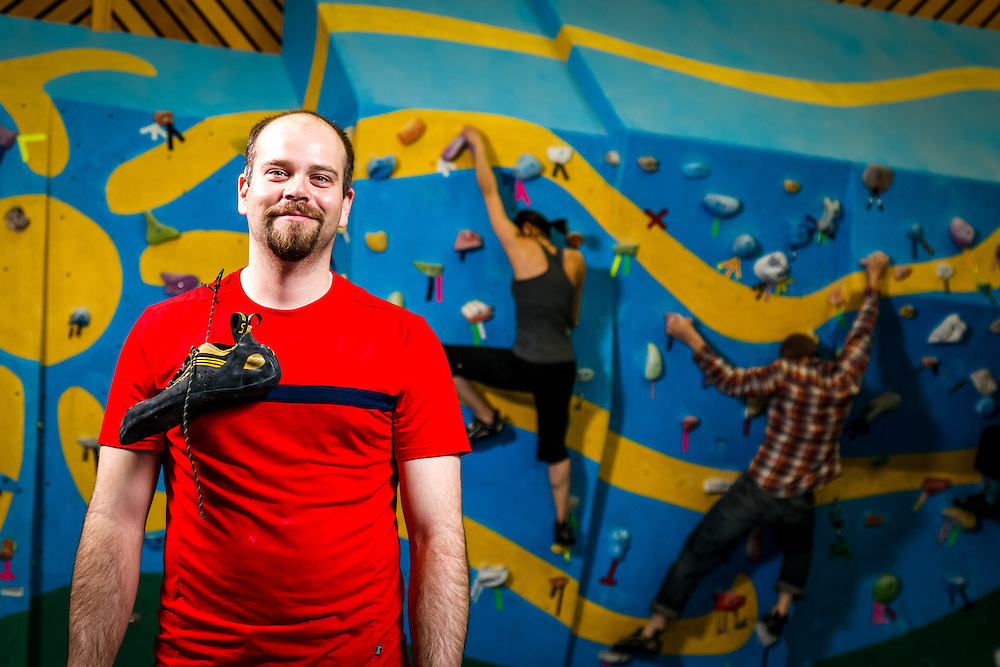 Joel Krahn/Yukon News<br /> Josh Lightman is one of the group of climbers looking for ways to build a new indoor climbing wall in Whitehorse.