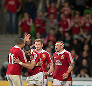 Sean Maitland (Lions) is congratulated on scoring his try during the tour match of the 2013 British And Irish Lions Australian Tour between RaboDirect Melbourne Rebels vs British And Irish Lions at AAMI Park, Melbourne, Victoria, Australia. 25/06/0213. Photo By Lucas Wroe