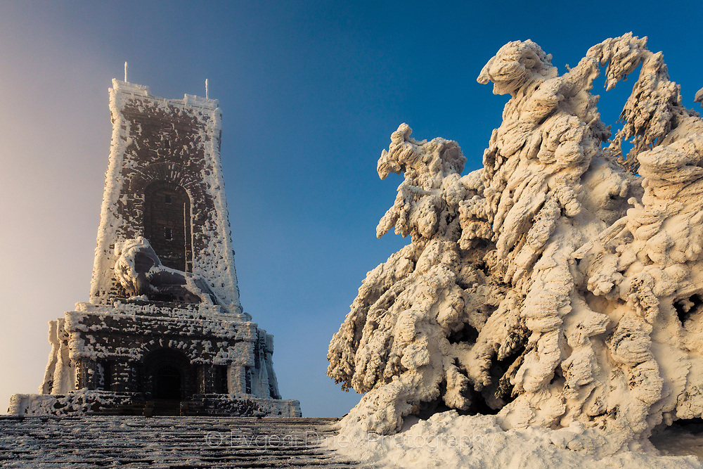 Shipka memorial in clod winter morning