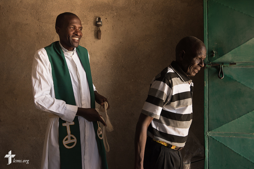 A pastor with the Evangelical Lutheran Church in Kenya prepares for worship at the Lokichar Lutheran congregation of the ELCK on Thursday, Oct. 15, 2015, in Lokichar, Kenya. LCMS Communications/Erik M. Lunsford