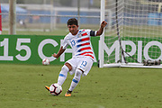 Team USA midfielder Allan Rodriguez-Lopez (13) kicks the ball during a CONCACAF boys under-15 championship soccer game, Monday, Aug. 5, 2019, in Bradenton, Fla. The USA defeated Guatemala  2-0 (Kim Hukari/Image of Sport)