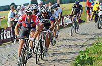 Sykkel<br /> Tour de France 2010<br /> 06.07.2010<br /> Tredje etappe - Wanze til Arenberg<br /> Foto: PhotoNews/Digitalsport<br /> NORWAY ONLY<br /> <br /> THOR HUSHOVD - vinner og tok over grønn trøye<br /> <br /> THOR HUSHOVD -  FABIAN CANCELLARA - ANDY SCHLECK - CADEL EVANS