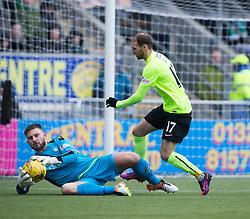 Falkirk's keeper Danny Rogers and Hibernian's Martin Boyle. Falkirk 1 v 2 Hibernian, Scottish Championship game played 31/12/2016 at The Falkirk Stadium .