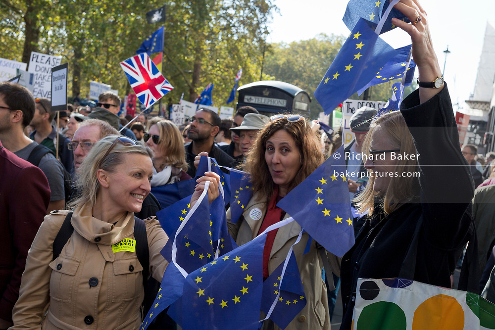 The People's Vote March For The Future on 20th October 2018 in London, United Kingdom. 650,000 people marched on Parliament to demand their democratic voice to be heard in a landmark demonstration billed as the most important protest of a generation. As the date of the UK's Brexit from the European Union is ever closer, the protesters gathered in their tens of thousands to make political leaders take notice and to give the British public a vote on the final Brexit deal.