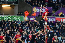 Dragons' Joseph Davies claims the lineout - Mandatory by-line: Craig Thomas/JMP - 27/10/2017 - RUGBY - Liberty Stadium - Swansea, Wales - Ospreys v Dragons - Guinness Pro 14