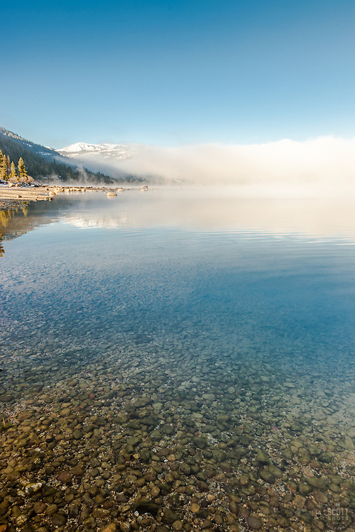 """Donner Lake Morning 15"" - Photograph of a foggy Donner Lake in Truckee, California with Donner Summit in the background."
