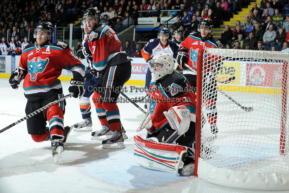 KELOWNA, CANADA, OCTOBER 29: Mitchell Chapman #5, Damon Severson #7, Cody Chikie #14 and Adam Brown #1 of the Kelowna Rockets defend the net as the Kamloops Blazers visit the Kelowna Rockets  on October 29, 2011 at Prospera Place in Kelowna, British Columbia, Canada (Photo by Marissa Baecker/Shoot the Breeze) *** Local Caption *** Mitchell Chapman; Damon Severson; Cody Chikie; Adam Brown;