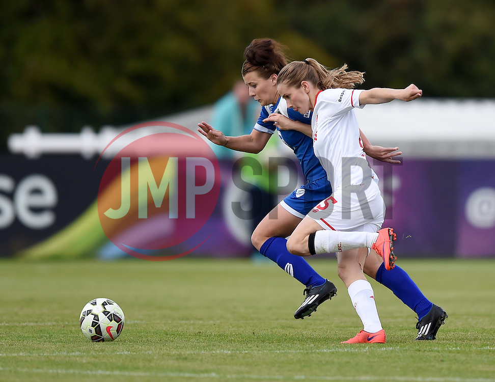 Angharad James of Bristol Academy Women competes with Ingrid Ryland of Liverpool Ladies - Mandatory by-line: Paul Knight/JMP - Mobile: 07966 386802 - 13/09/2015 -  FOOTBALL - Stoke Gifford Stadium - Bristol, England -  Bristol Academy Women v Liverpool Ladies FC - FA WSL Continental Tyres Cup