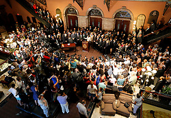 "Supporters, media and state representatives fill the floor of the rotunda as Gov. Nikki Haley prepares to sign the bill into law that will remove the Confederate battle flag from the State House grounds Thursday, July 9, 2015 in Columbia. zlaup ""Confederate Flag"""